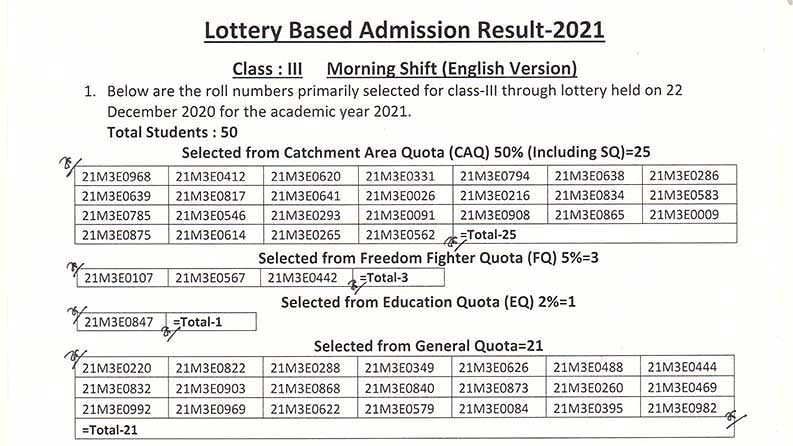DRMC Class Three Morning Shift English Version Lottery Result