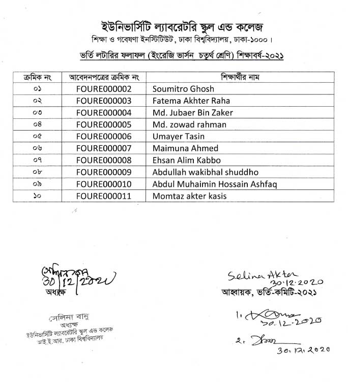 ulab class four English version lottery result
